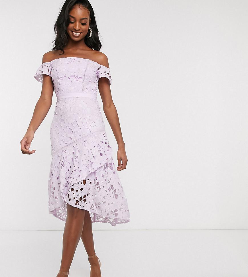 Chi Chi London Tall bardot lace midi dress with flippy hem in lilac-Purple - Chi Chi London Tall online sale