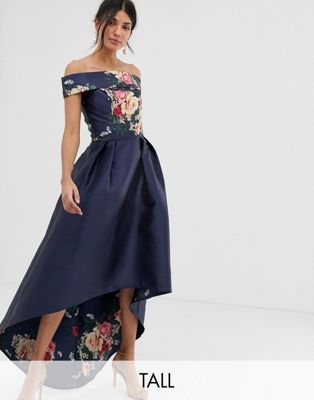 Image 1 of Chi Chi London Tall bardot neck prom dress with high low hem in navy floral