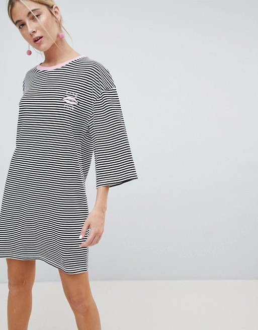 Image 1 of Chorus Flared Sleeve Striped T-Shirt Dress with Embroidery