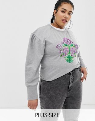 Chorus Plus - Sweater met pofmouwen en lovertjes