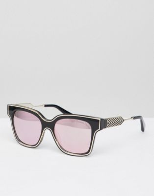 Christian La Croix Square Sunglasses In Black With Rose Gold Lens
