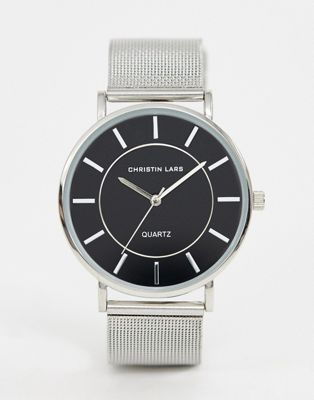 Christian Lars mens silver mesh watch with black dial