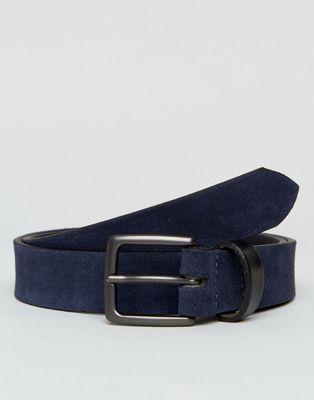Cinturón de ante en azul marino con trabilla en contraste de Peter Werth