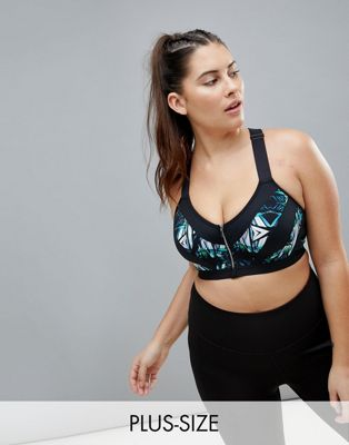 City Chic Kaleidoscope Zip Front Sports Bra