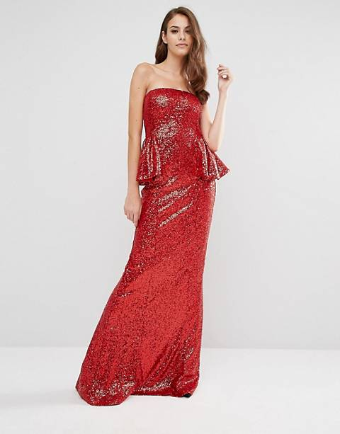 City Goddess Bandeau Sequin Peplum Maxi Dress