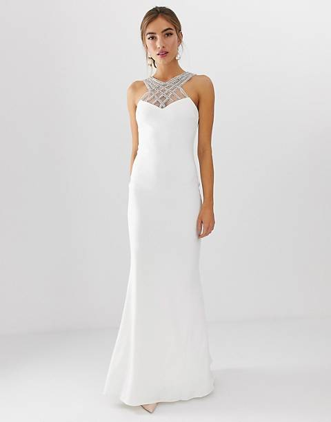 City Goddess bridal cross front embroiderd maxi dress