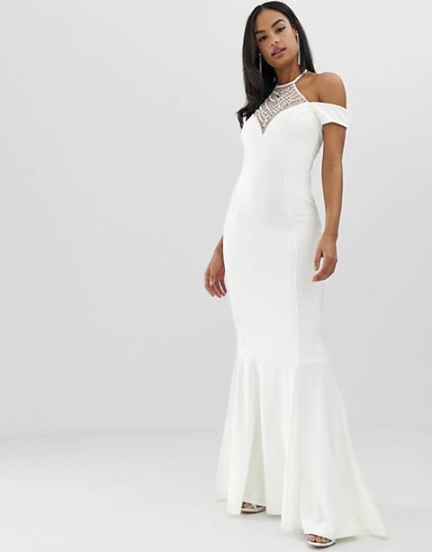 City Goddess bridal off shoulder fishtail maxi dress with embellished detail