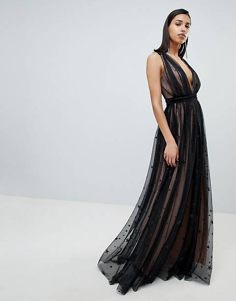 City Goddess Contrast Glitter Star Print Maxi Dress With V Back