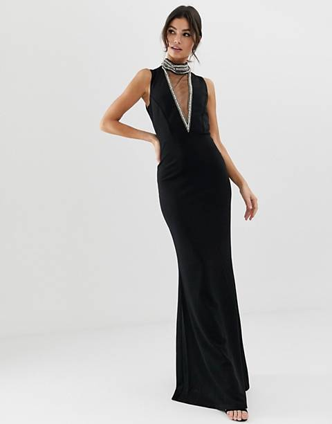 City Goddess high neck maxi dress with embellished detail