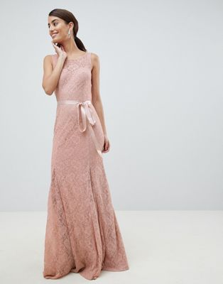 Image 1 of City Goddess Lace Maxi Dress With Satin Belt