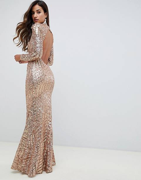 City Goddess Long Sleeved Open Back Sequin Maxi Dress