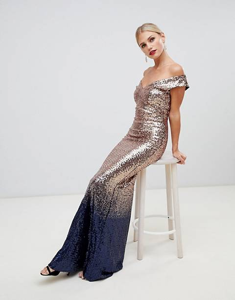 City Goddess ombre sequin embellished maxi dress
