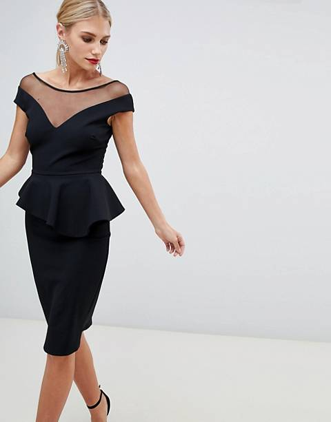 City Goddess peplum midi dress with embellished detail
