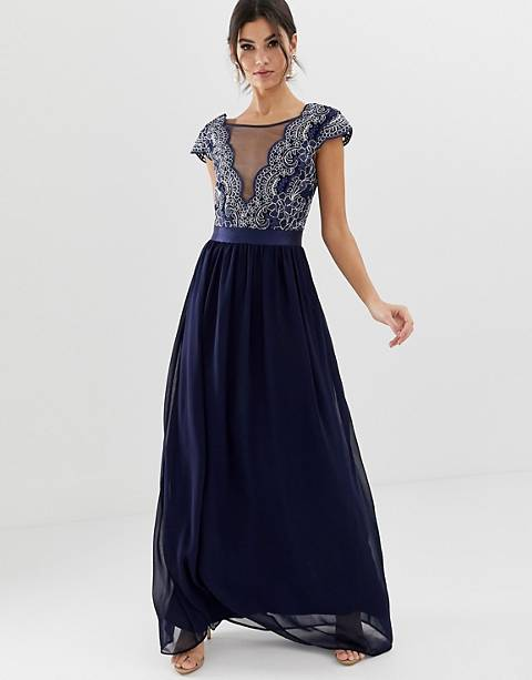 City Goddess pleated maxi dress with embrodiered detail