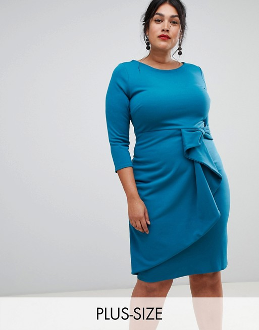 City Goddess plus long sleeve wrap front dress