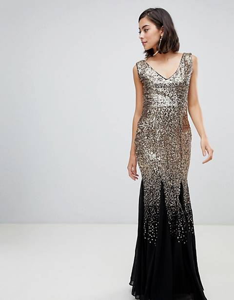 City Goddess Scattered Sequin Chiffon Maxi Dress
