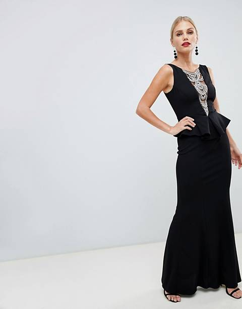 City Goddess structured peplum maxi dress with embellished detail