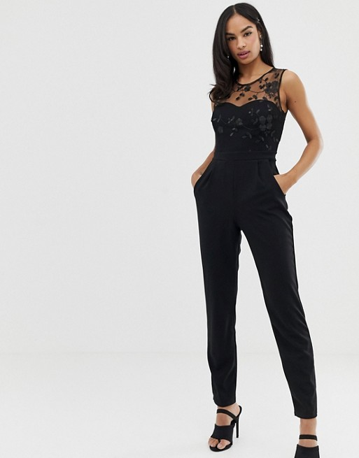 Image 1 of City Goddess tailored jumpsuit with embroidered detail