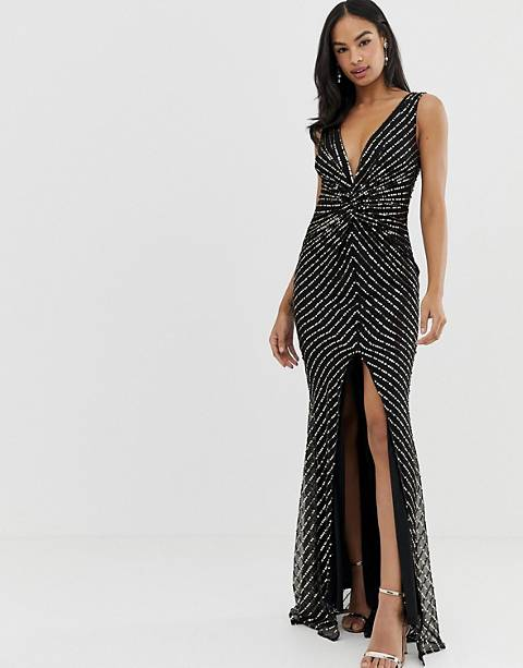 City Goddess thigh split maxi dress with sequin detail