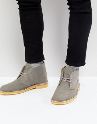 Clarks Canvas Desert Boots In Stone