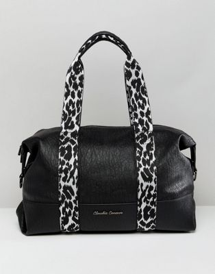 Claudia Canova soft grain shoulder bag with zebra print webbing detail