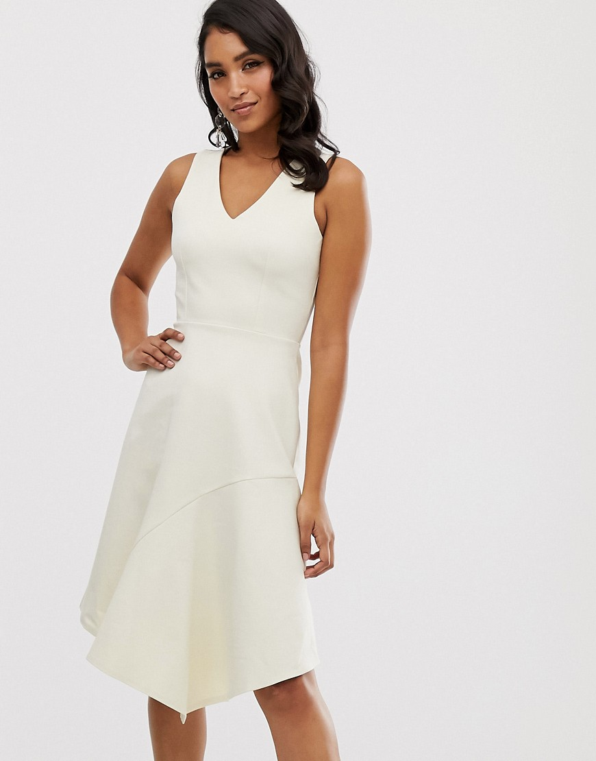 closet asymmetric hem dress-cream