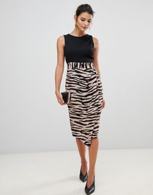 Image 1 of Closet London 2 in 1 sleeveless pencil dress with tiger print skirt
