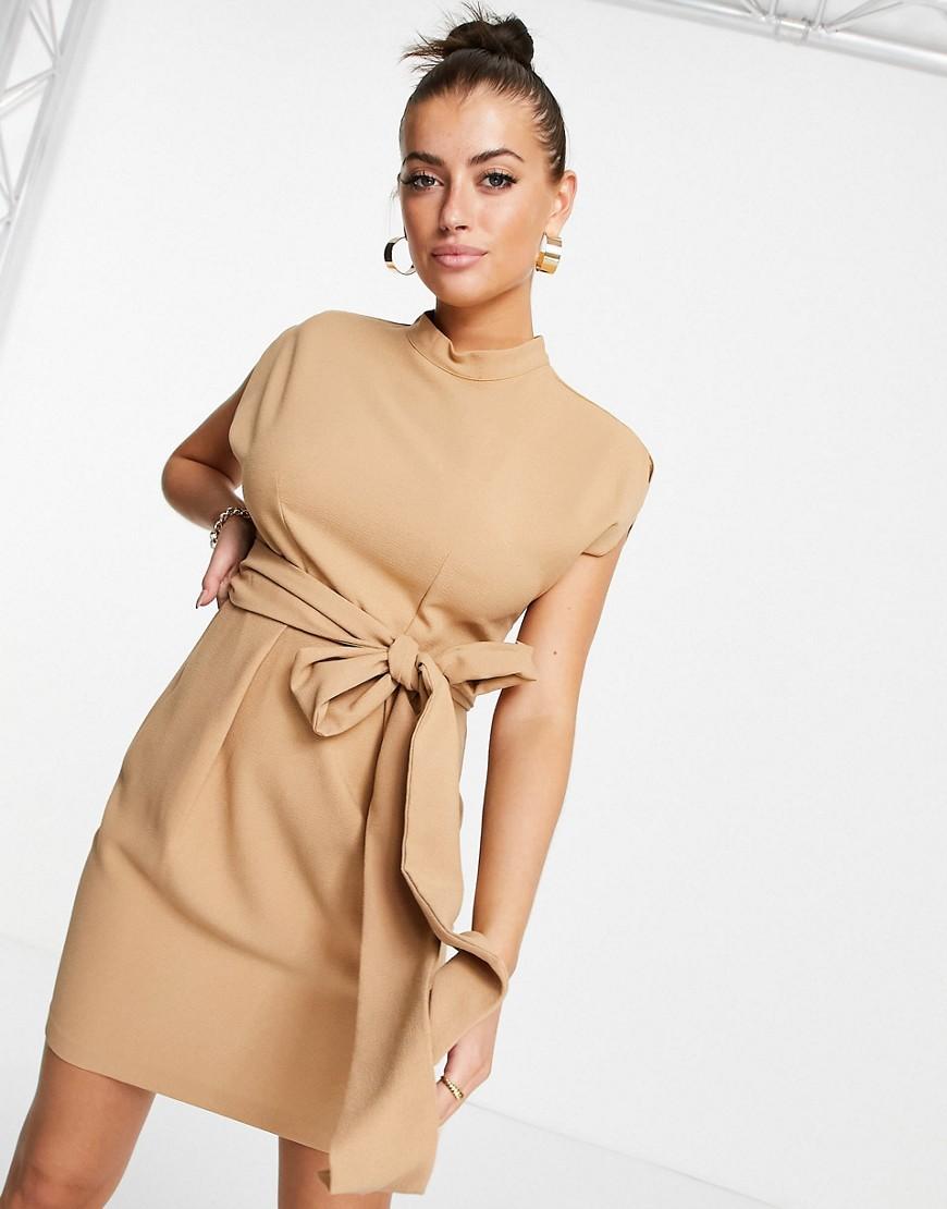 belted tie waist mini dress in sand-Neutral