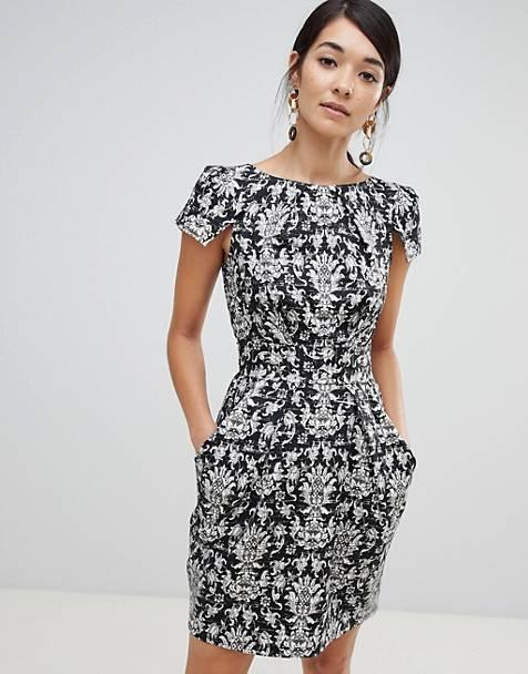 cadc0e78815 Closet London cap sleeve pencil dress in damasque print