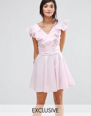 Closet London Cotton Mini Skater Dress with Frill