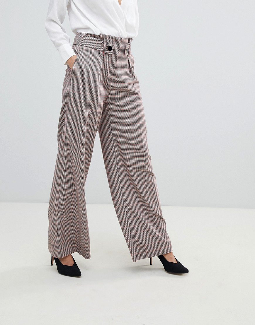 Closet London High Waist Wide Leg Trouser In Check by Closet