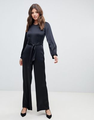 Image 1 of Closet London puff sleeve jumpsuit in black