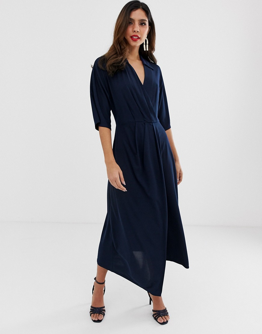 closet wrap midi dress-navy