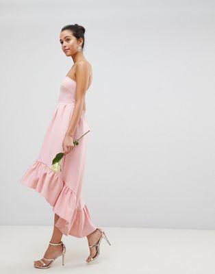 Image 1 of Club L Bandeau Drop Hem Frill Maxi Dress