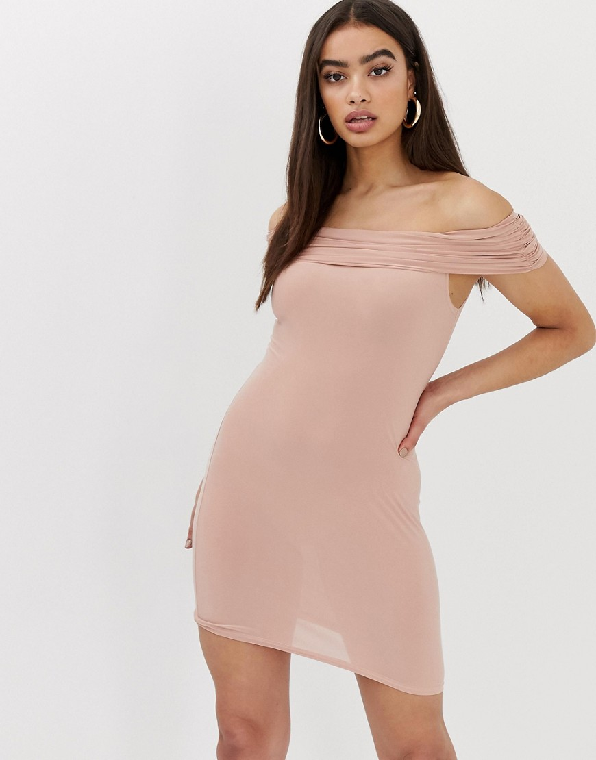 Club L bardot bodycon dress-Pink