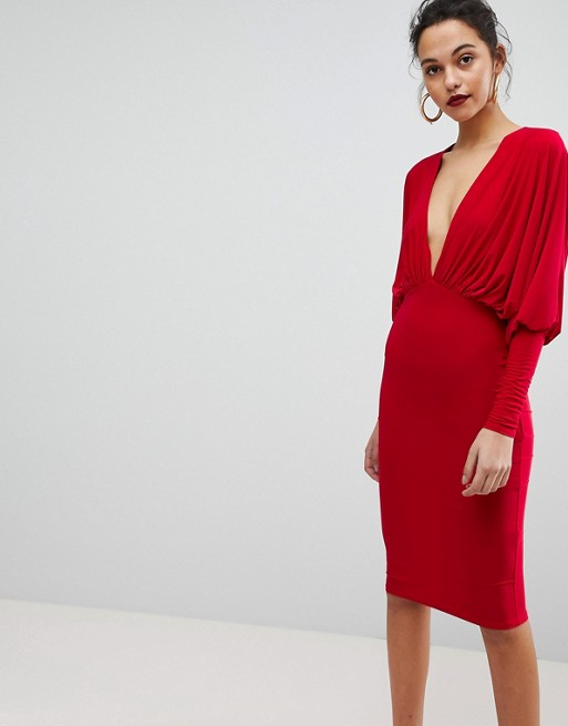 Club L Batwing V Plunge Gathered Detailed Midi Dress
