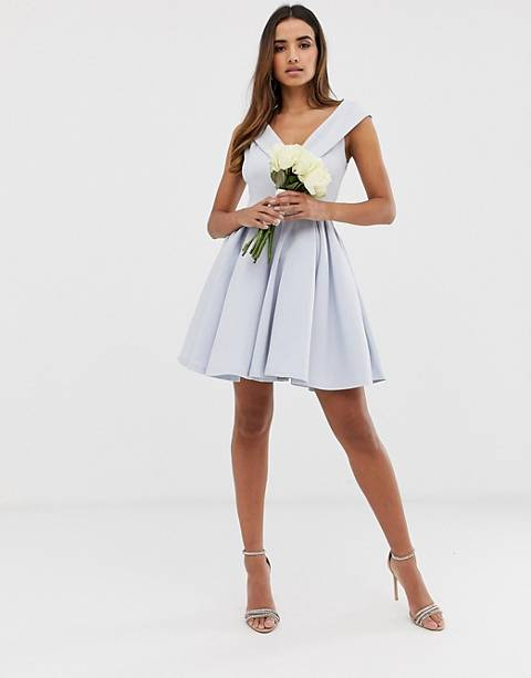 Club L bridesmaid bardot detail skater dress