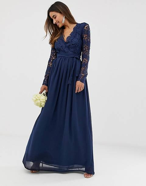 Club L bridesmaid long sleeve crochet detail maxi dress