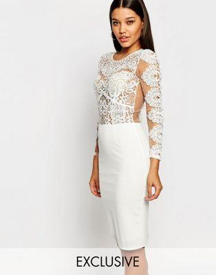 Club L Crochet Lace Bodycon Midi Dress