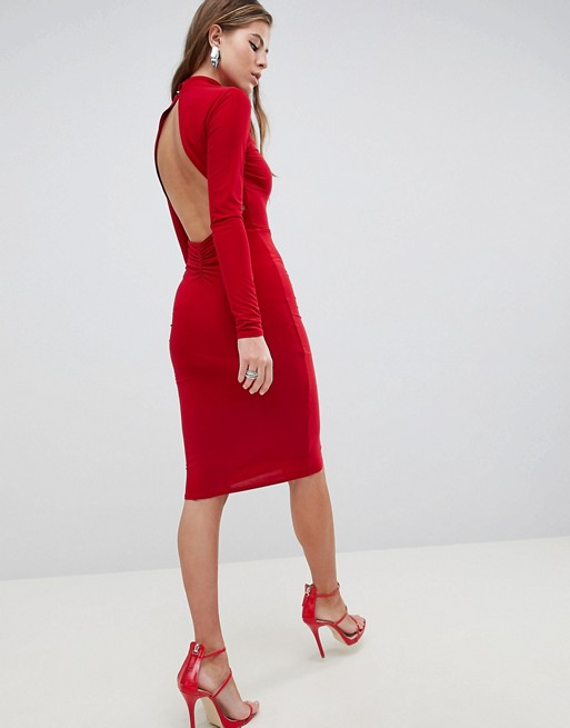 0f3349802fee Club L High Neck Ruched Detailed Open Back Slinky Midi Dress | ASOS