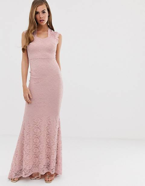 Club L lace detail fishtail maxi dress