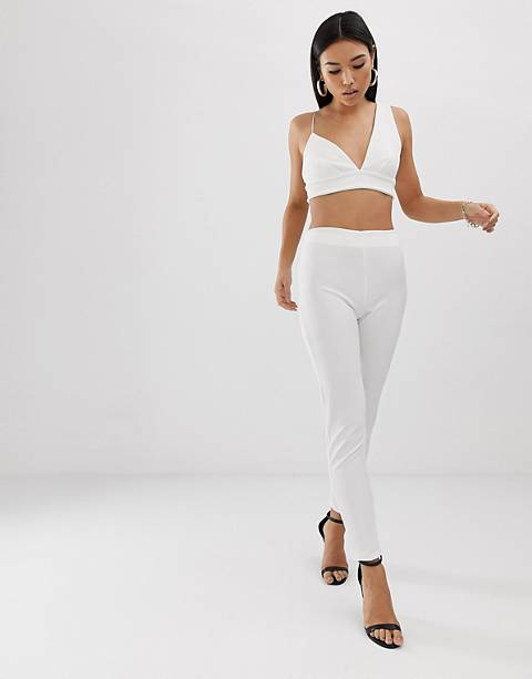 Club L London cigarette pants two-piece in white