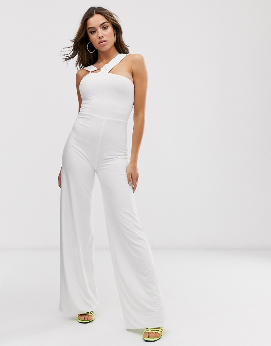 Club L London jumpsuit with hardware back detail in white - Club L London jumpsuits