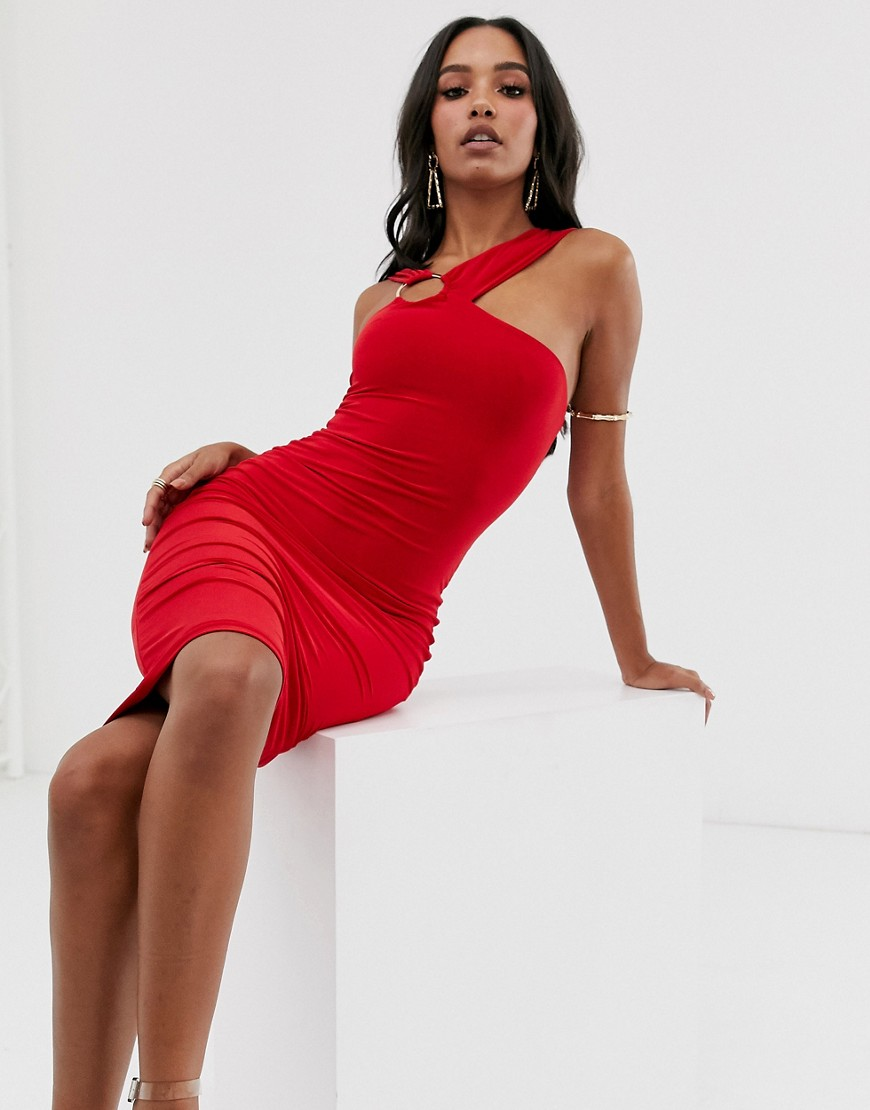 Club L London midi bodycon dress with hardware back detail in red - Club L London online sale