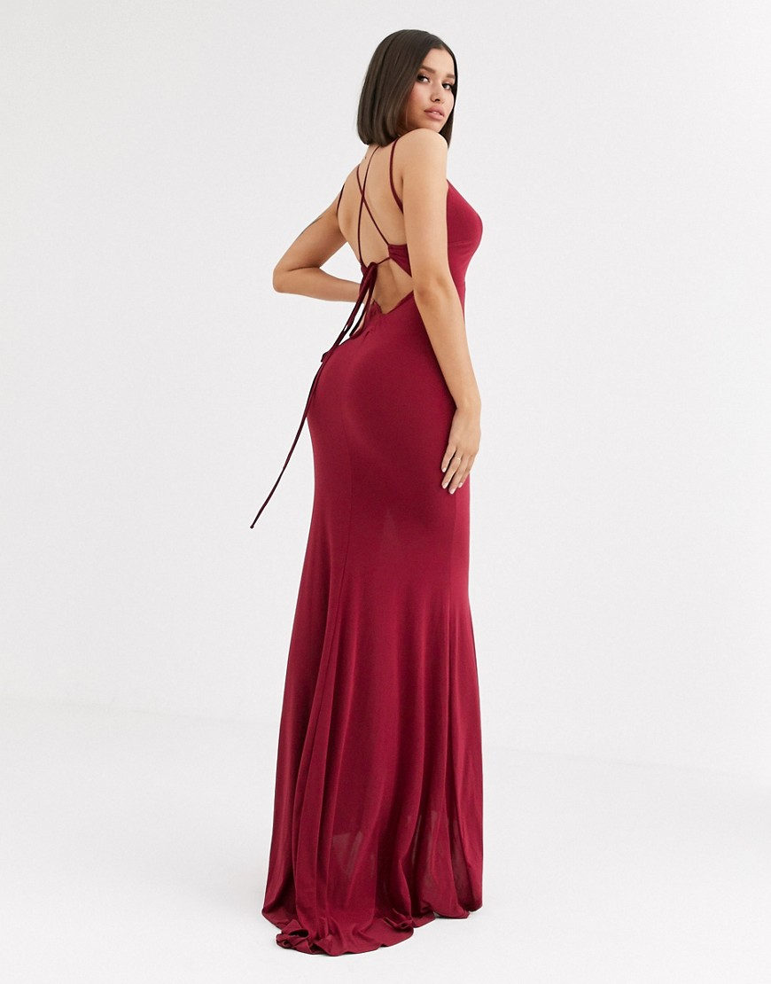 Club L London plunge front strappy back maxi dress in raspberry-Red - Club L London online sale