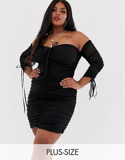 71590e973 Club L London Plus lace up plunge front long sleeve ruched mini dress in  black