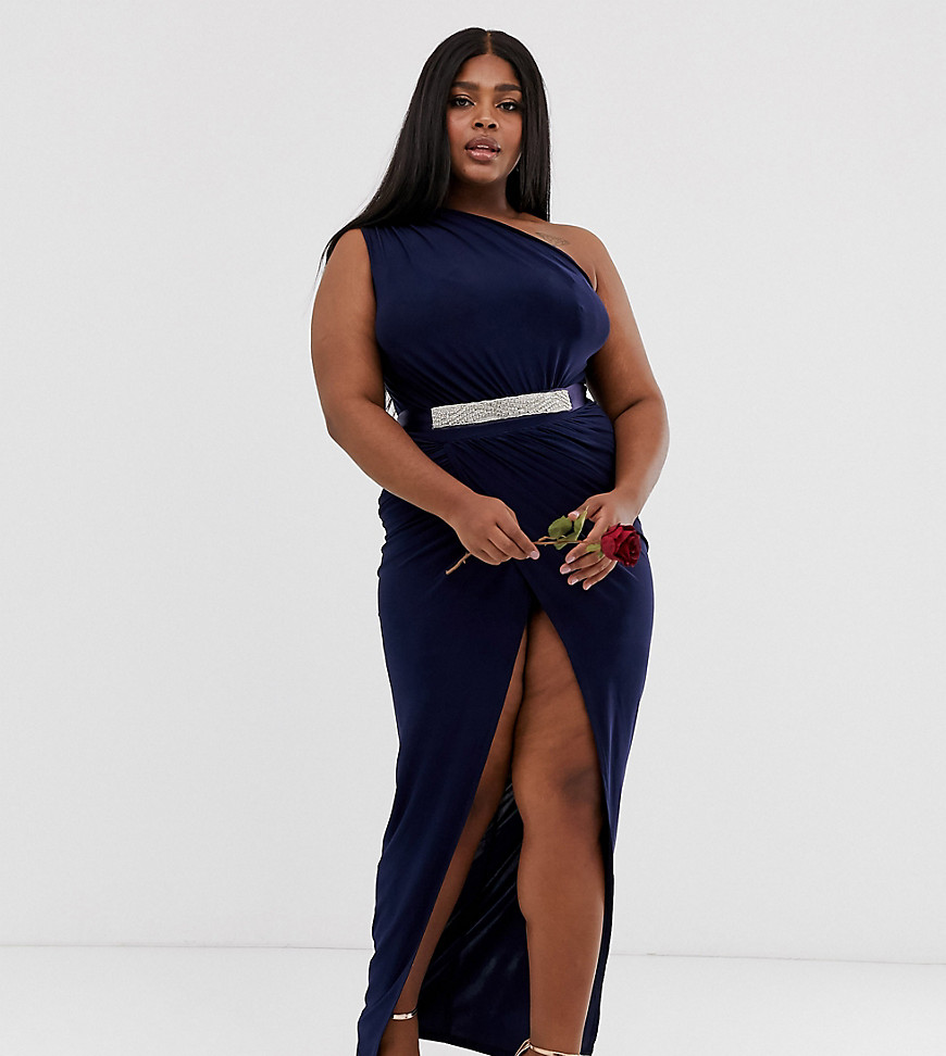 Club L London Plus one shoulder embellished belted bridesmaid maxi dress-Navy