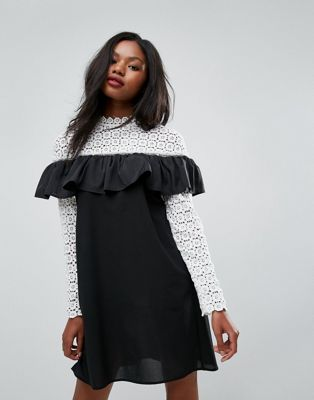 Club L Long Sleeve Crochet High Neck Detailed Dress