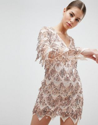 Club L Long Sleeve Tassel Fringe Sequins Plunge Bodycon Dress
