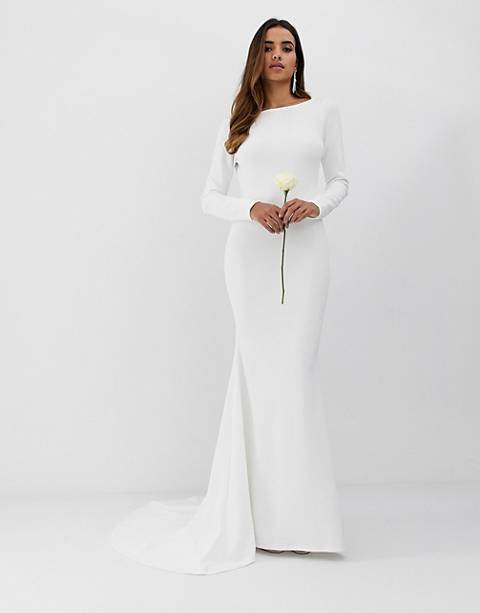Club L low back crepe detail fishtail wedding dress